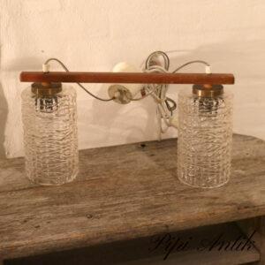 Retro teak loftlampe med 2 frosted lampeskærm Ø17 lampeskærm x B46xH24 cm