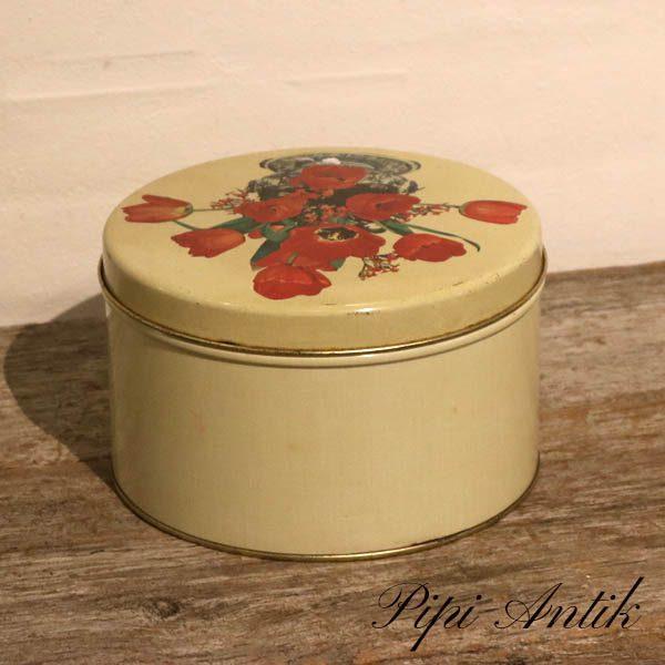 Kagedåse beige med roser Ø12,5x21 cm