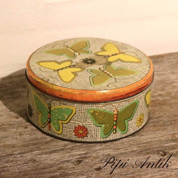 Retro kagedåse med pastel sommerfugle Ø20,5xH9 cm