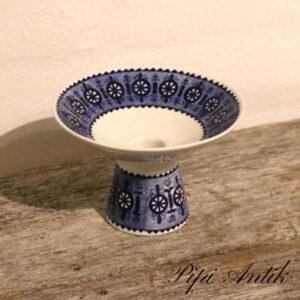 Retro lysestage til alm og bloklys blåt Ø13xH8,5 cm