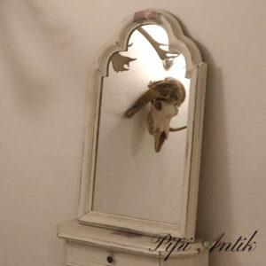 Spejl råhvid decoupage nyere B56xH88xD5 cm