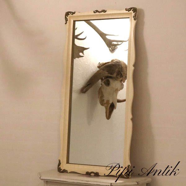 Romantisk råhvidt spejl med metalkanter B49xH95xD3 cm