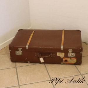59 Brun XL papkuffert med træ beskyttere patineret L85xB52xD23 cm
