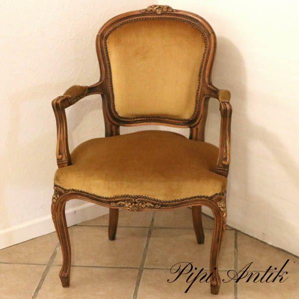 Rokokostils armstol i carrygul velour B60xD54xH88 sædet 44 cmH
