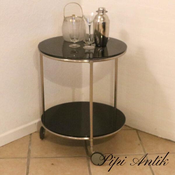 Retro bar rullebord krom og sort glas Ø50xH61,5 cm