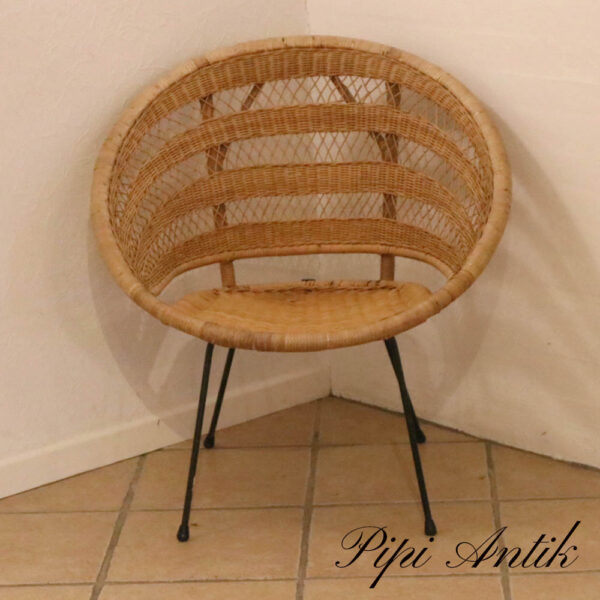 Retro fletstol med slanke sort metalben lidt patina i flet B75xD49xH80 siddehøjde 38,5 cm