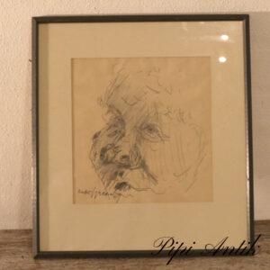 Blyant tegning af en gammel mand b31Xh33,5 CM