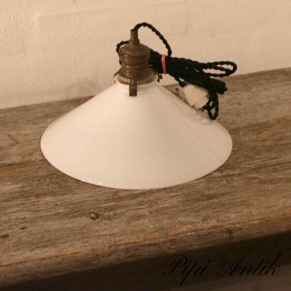Hvid skomagerlampe glas pendel Ø25xH15cm