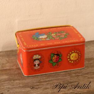 Rød madkasse med hank L23,5xB15xH11 cm