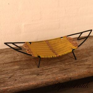 Retro frugtkurv aflang sort gul flet L49xB19,5xH6 cm