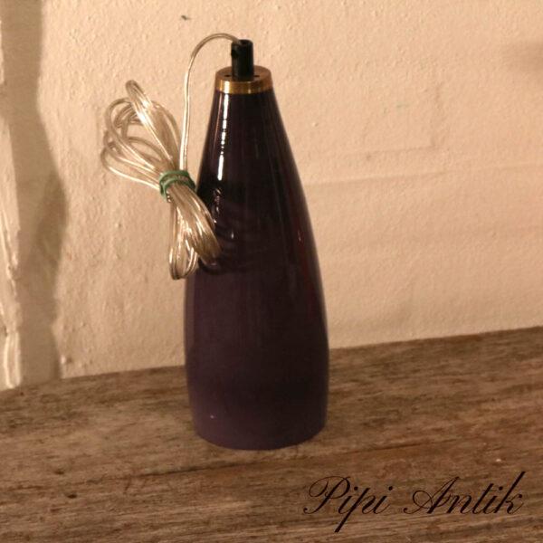 Retro lilla glas loftlampe Ø9xH27 cm