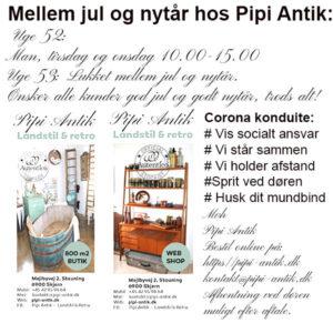 Åbningstider i Uge 52 og 53 hos Pipi Antik