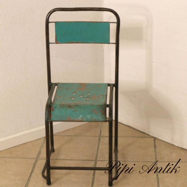 Metal retro industristol grøn orange sort metal B33,5xD40,5xH84 sædet 42,5 cm