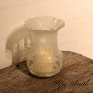 Lysestage med sølvplet fod aftagelig gammel lampeskærm Ø16,5xH13 m uden lys