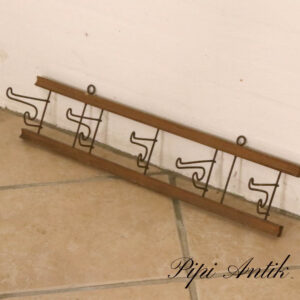 Naturtræ knage foldbar metal viskestykkeknage rustpatineret L59xH12,5 cm