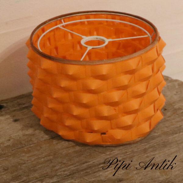 Retro orange lampeskærm i plast med flet Ø20xH16cm