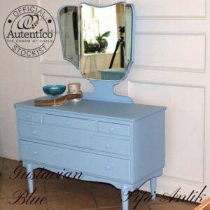 Gustavian Blue sminkebord med kommode L100,5xD42xH135 bordhøjde 67,5 cm