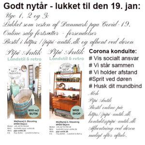 Pipi Antiks åbningstider lukket indtil 17 januar 2020