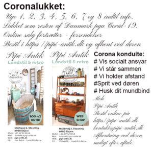 Coronalukket hos Pipi Antik til og med uge 8 2021