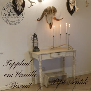 Afskallet patineret skrivebord toppladen mix af Vanille Biscuit L89xD53xH75 cm
