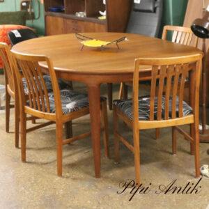 Ovalt teak spisebord med eller rundt spisebord med 2 tillægsplader L 180sb120Xh72 cm +60 cm excl stole