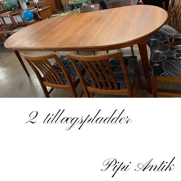Teak spisebord 2 tillægsplader