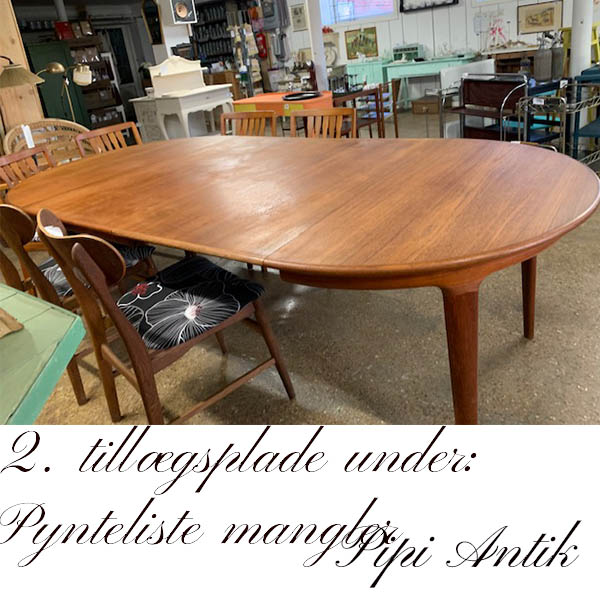 Teak spisebord 2 tillægsplade manglende pynteliste