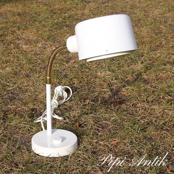 35 Retro hvid borlampe med messing arm Ø12xH35 cm