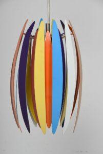 JAWS farverig loftlame af Benne Frandsen DK 1980´erne Ø15xH39 cm
