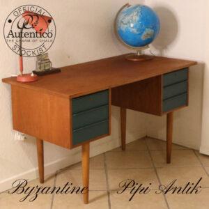 Retro teak skrivebord med Byzantine Autentico kalkmalet skuffer L120xB75xH71 cm