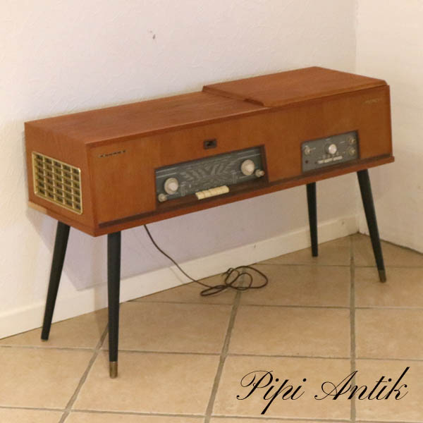 Teak træ Phillips radio og grammofon afspiller L102xD31xH63 virker