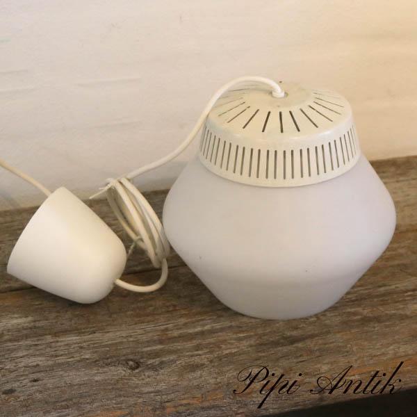 Retro hvid lampe Ø23xH21 cm ny ledning