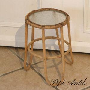 01 Retro ratan blomsterbord Ø1xH32 cm