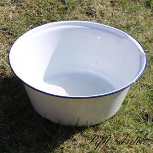 02 Emalje hvid emalje vaskebalje blå kant NN Ø42xH16 cm