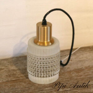 Retro frosted lampe med messing Ø10x19,5 cm