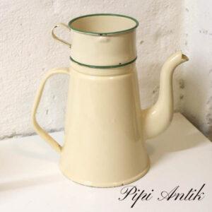 04 Madam Creme emalje kaffekande med tragt uden låg NN Ø15,5xH25 cm