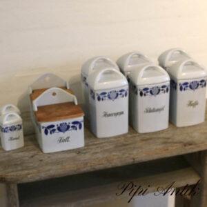 Maskou Import blålige krukker og saltkar mm H20 cm