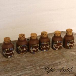 Krydderi små krukker brunler Ø5xH10 cm