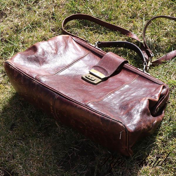 Retro brun lædertaske L40xB13xH24 cm