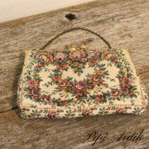 Taske lille med blomsterstof L16xH12 cm