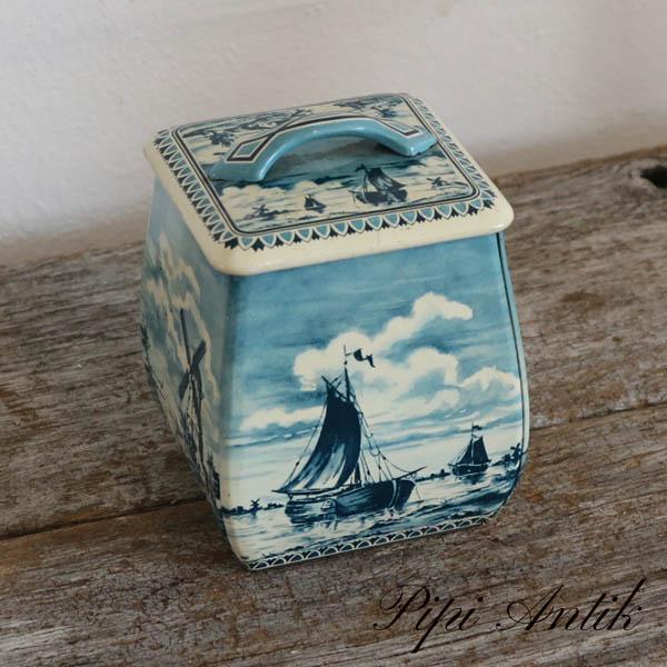 Thedåse blåligt sejllads L10xD9,5xH13 cm