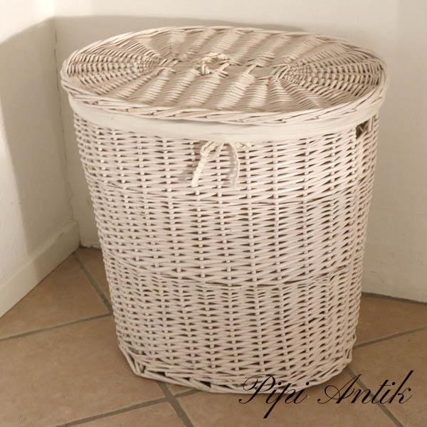 Råhvid vasketøjskurv nyere L59xD40xH60 cm