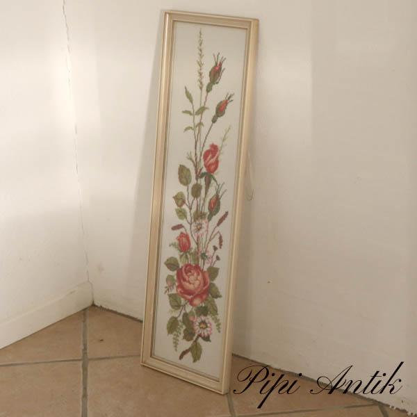 Romantisk broderi billede af roser B26x86 cm