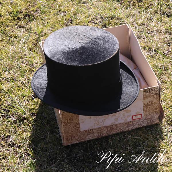 25 Høj sort hat ca 59 med æske