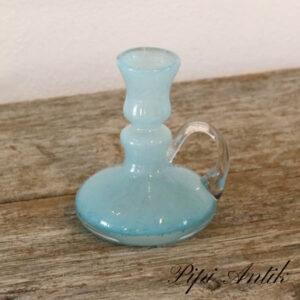 Glas lysestage tyrkisblå Ø9xH12 cm