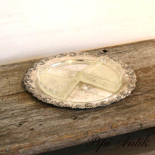 Sølvplet sildefad med 2 glasindsatser Ø30