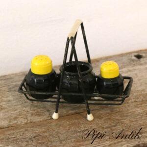 Retro salt peber sennep L16xB7x13 cm sort glas og gul plast