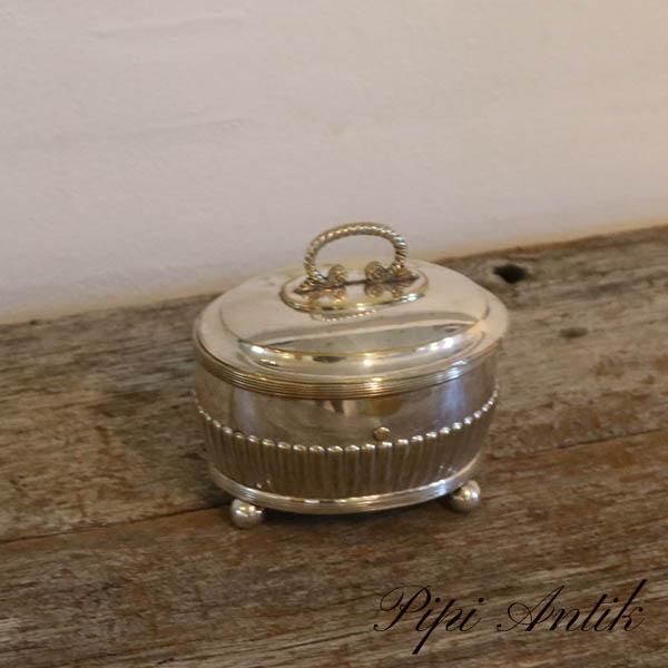 35 Sølv plet smykkeskrin mrk GB L13xB10xH12