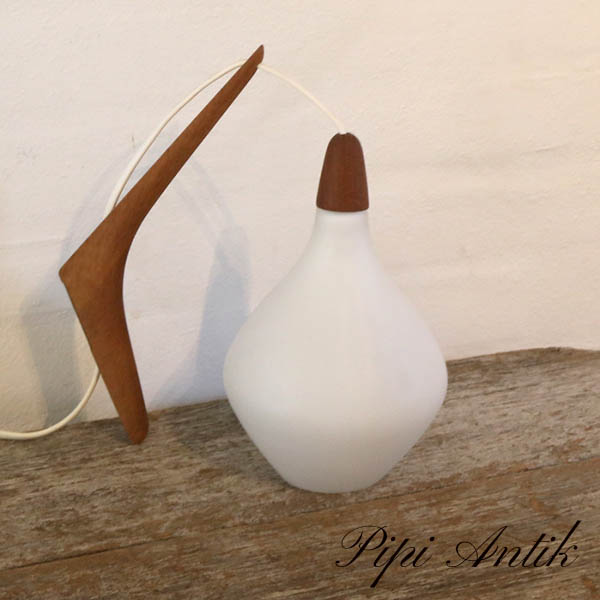 38 Teak glas lampe hvid lampeskærm Ø13xH23 cm dybde 20 cm