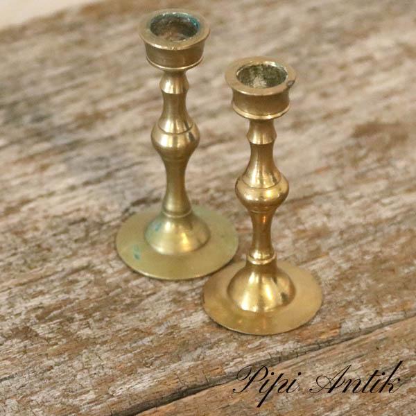 Små messing lysetager Ø3xH6,5 cm sæt af 2 stk